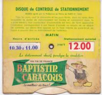Baptistin Caracous Disque De Stationnement Vin De France Voiture - Publicidad