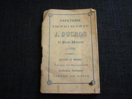 Petit Calendrier Ancien Publicitaire  1898  Papeterie Imprimerie Duclos 20 Place Morand  LYON - Small : ...-1900