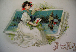 Cpa Gaufrée,  PETITE FILLE & CARTE VOEUX GEANTE ,1910 GIRL & GIANT GREETINGS CARD . FAIRIES. EMBOSSED OLD PC - Scenes & Landscapes