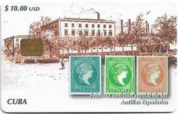 Cuba - Etecsa (Chip) - Stamps Phonecards, Primera Emisión Postal De Las Antillas Españolas, 11.2004, 10$, 20.000ex, Used - Cuba