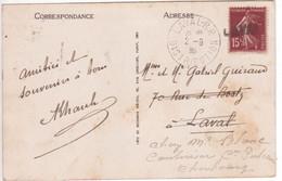 Semeuse Non Oblitérée Départ MARSEILLE, Rare Cachet LAVAL RP DISTRIBUTION + Griffe Linéaire  Réexpédition CHERBOURG 1930 - 1921-1960: Période Moderne