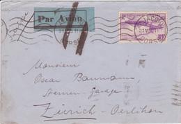 Poste Aérienne 2F25 Blériot Seul / Lettre PAR AVION Ajaccio Corse > Zürich Suisse 1935 (au Dos Marseille Gare Avion) - Poste Aérienne