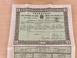 TRANSVALIA  LAND  EXPLORATION AND  MINING  COMPANY , LIMITED -----Certificat  De  5  Actions - Bergbau