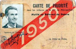 RATP - CARTE DE PRIORITE Dans Les Voitures De La Compagnie Du Métropolitain - Mutilé Ou Réformé De Guerre - 1950 - Other