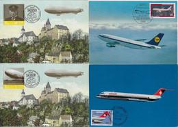 Germany Switzerland 1980 2013 4 Maximum Card Transport Aviation Airplane Lufthansa Swissair Airship Zeppelin Balloon - Aviones