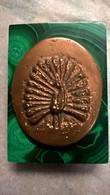 Presse Papier Paon En Bronze Sur Socle En Onyx Vert - 7 X 10 Cm - Briefbeschwerer