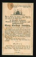 Anzeige Sterbebild 1853 Herzoglich Arenberg'sche General Inspector Hofkammerrath Georg Christoph Landschütz, Ritter - Historische Documenten