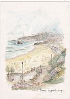 Aquarelle: BIARRITZ : La Grande Plage  Aquarelle Originale De Robert LEPINE   N° 15 64 0365 - Autres