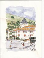 Aquarelle De Marie-Ange Amorena : SARE, Partie De Pelote Basque   N° 6513  Signé - Altri