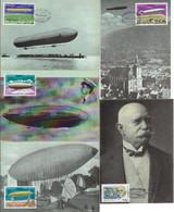 Romania 2000 5 Maximum Card Transport Aviation Airship Zeppelin Ballon Santos Dumont No. 6 LZ127 LZ1 Italia - Montgolfier