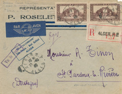 """Griffe """" Vu Le Contr """" CENSURE PERIODE TRANSITOIRE 19/10/40 ALGER Lettre RECOMMANDÉE AVION Algérie > ST PARDOUX Dordogne - Guerra Del 1939-45"""