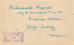 """1942 Griffe """" PASSED BY CENSOR E.A. I/167 """" Lettre > DIEGO SUAREZ MADAGASCAR - Censure - WW2 COVER - WW2"""