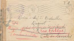 """Cachet """" GROUPE AFRIQUE ORIENTALE FRANÇAISE """" Lettre ALGERIE COTE DES SOMALIS Redirigée MADAGASCAR - CENSURE LIBERATION - WW II"""