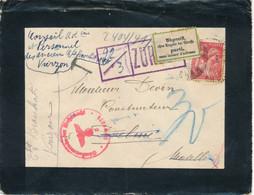 """1941 Etiquette Bilingue """" PARTI SANS LAISSER D'ADRESSE """" + ZURÜCK -  LETTRE > DELMA MOSELLE TAXE IRIS CENSURE GUERRE WW2 - Alsace Lorraine"""