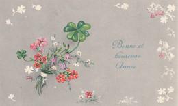 1039 - MIGNONETTE BONNE ET HEUREUSE ANNEE . BOUQUET DE FLEURS TREFLES 4 FEUILLES HOUE ILLUST LUCE ANDREE SUPERLUXE 0-331 - New Year