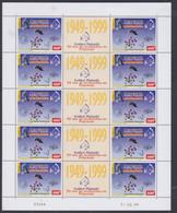 Polynésie N° 601A F XX Cinquantenaire De L'Institut Malardé. La Feuille De 5 Paires Avec Vignette, Sans Charnière, TB - Nuovi