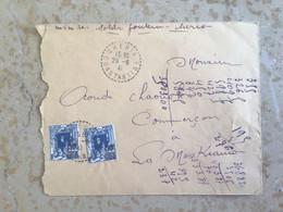 Algérie : Marcophilie ,Lettre Cachet Perlé CHERIA Constantine Pr Meskiana. 1941 - Cartas