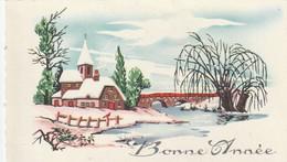 1039 - MIGNONETTE BONNE ANNEE .EGLISE PONT RIVIERE PAYSAGE ENNEIGE . LA ROSE 2015 - New Year