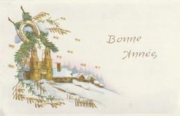 1039 - MIGNONETTE BONNE ANNEE .EGLISE MAISONS BRANCHES DE PIN GUI FER A CHEVAL ETOILES  PAYSAGE ENNEIGE . MD PARIS 486 - New Year