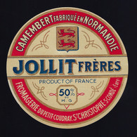 Etiquette Fromage  Camembert Normandie  Jollit Freres 50%mg Fromagerie Du Petit Coudraie St Christophe Sur Condé Eure 27 - Formaggio
