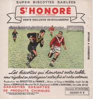 Buvard Super Biscottes Sablées Saint Honoré Vauréal Donville Suresnes Dessin N°3 Football Rugby - Zwieback