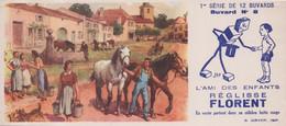 Buvard L'Ami Des Enfants Réglisse Florent 1ere Série De 12 Buvard N° 8 Scène De Village Fontaine Chevaux - R