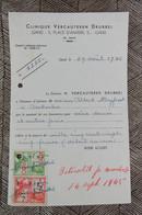 Factuur Gent Gand Clinique Vercauteren Dampoort Hospitaal Place D'Anvers 1945 - 1900 – 1949