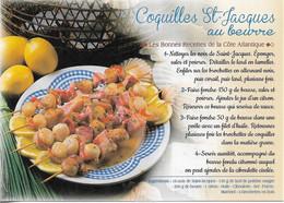 POISSONS & CRUSTACÉS - RECETTE DE CUISINE - COQUILLES ST JACQUES AU BEURRE - RECETTE DE LA COTE ATLANTI - CPM - VIERGE - - Poissons Et Crustacés