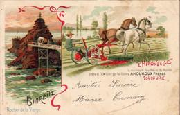 D64  BIARRITZ  Rocher De La Vierge Carte Publicitaire L'Hirondelle Amouroux Frères - Biarritz