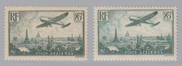 PA  8 Et 8a (Avion Survolant Paris) Vert Foncé Et Clair, Neuf **. - 1927-1959 Mint/hinged