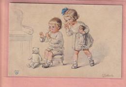OLD POSTCARD - ARTIST SIGNED FIALKOWSKA -  CHILDREN - DOLL - TEDDY BEAR - Fialkowska, Wally