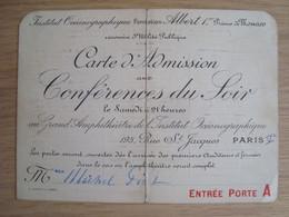 CARTE D'ADMISSION INSTITUT OCEANOGRAPHIQUE FONDATION ALBERT 1er MONACO 1933-34 - Tickets - Vouchers