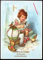 A8257 - Glückwunschkarte Geburtstag - Mädchen Puppe Vögel - Geburtstag