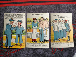 3 CPA Militaria, Humour, Caserne, Vie Drole De Guerre  ( Lot 2) - Umoristiche