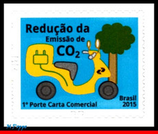 Ref. BR-3309 BRAZIL 2015 ENVIRONMENT, REDUCTION OF CO2 EMISSION, ,MOTORCYCLES,SUSTAINABILITY ISSUE,MNH 1V Sc# 3309 - Protection De L'environnement & Climat
