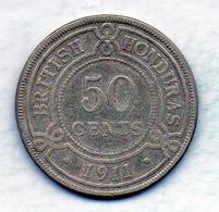 BRITISH HONDURAS, 50 Cents, Silver, Year 1911, KM #18 - Honduras