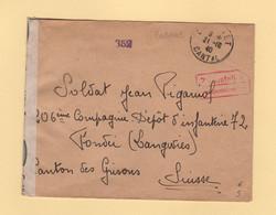 Calvinet Cantal Destination Suisse - Censure Helvetique - 21-10-1940 - WW II