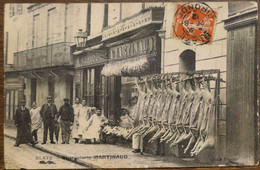 C. P. A. : 33 BLAYE : Charcuterie MARTINAUD, Animé, Timbre En 1912, TRES RARE - Blaye