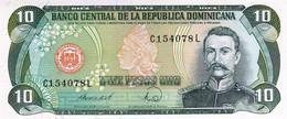 "Dominican Republic 10 Pesos 1988 UNC P-119c ""free Shipping Via Registered Air Mail"" - Dominicana"