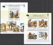 ST749 2014 GUINEE GUINEA MARINE LIFE PREHISTORIC MEN & ANIMALS MAMMOTH KB+BL MNH - Andere