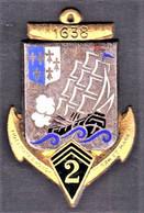 2° RIC/ RIMa. 2° Régiment D'Infanterie Coloniale/ Régiment D'Infanterie De Marine. Vent Debout. Dos Guilloché, 1 Boléro - Army