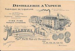 Distillerie à Vapeur MALLEVAL AÎNÉ 9 à 15 Rue J.J. Rousseau TARARE - Visiting Cards