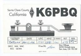 United States 1996 QSL Cards - Radio Amateur San Jose,Santa Clara,California,telegraph - Amateurfunk