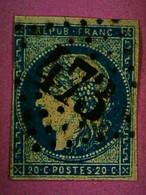 N ° 45Aa - BLEU FONCE - O  - MARGE LIMITE - COTE . 130.00 €  - PORT . 1.60 € . LETTRE SUIVIE - 1870 Bordeaux Printing