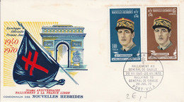 NOUVELLES HEBRIDES FDC 1970 CHARLES DE GAULLE - Covers & Documents