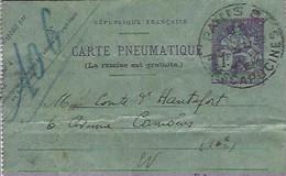 Carte Pneumatique  Paris Capucine Et Longchamps - Ohne Zuordnung