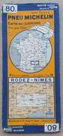 Carte Routière Pneu Michelin 80 Rodez-Nimes - Wegenkaarten