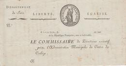 CONLIEGE (Jura) LE COMMISSAIRE Du Directoire Exécutif.. - Entête Imprimé, Découpé, Ayant Servi De Brouillon - Documents Historiques