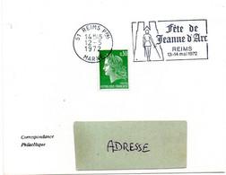 HISTOIRE = 51 REIMS Ppal 1972 = FLAMME à DROITE =  SECAP Illustrée ' JEANNE D' ARC / Fete ' - Oblitérations Mécaniques (flammes)