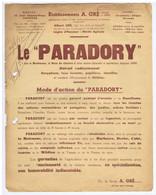 "GIRONDE - BEGLES Et BORDEAUX - Etablissements A. GRE - LE "" PARADORY "" - Birambits BEGLES - Advertising"